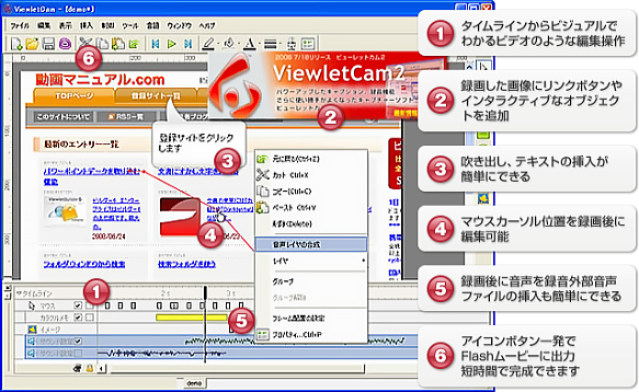 ViewletCam2 編集画面の特徴